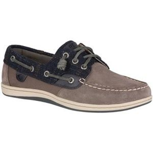 Sperry Songfish Suede Wool Gray Slip on Boat Shoes